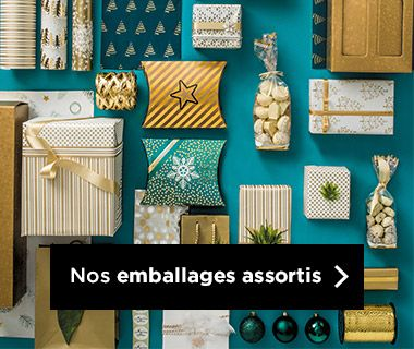 Emballages Noel 2018 collection Glam & or assortis