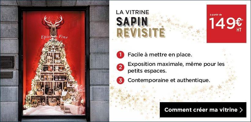 Noël 2018 Inspiration vitrine Sapin revisité