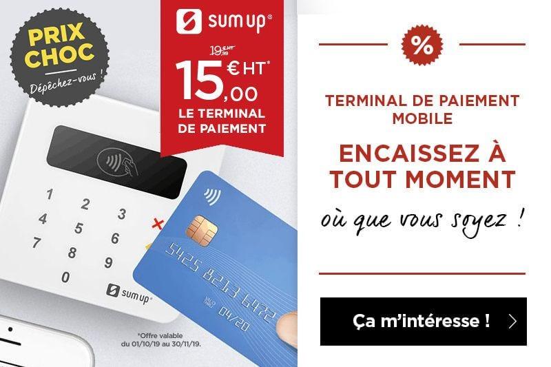 Promotion sur le terminal de paiement SUM UP ! Encaissez à tout moment avec le terminal de paiement mobile