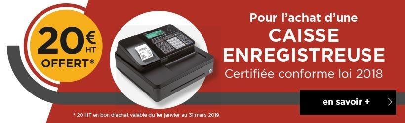 Offre 20€ remboursés sur les Caisses enregistreuses certifiées Loi 2018