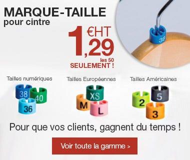 Marque-tailles pour cintres : permet un repérage rapide par votre client