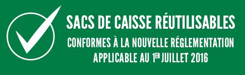 sacs de caisse réutilisables conforme à la nouvelle réglementation applicable au 01/07/2016
