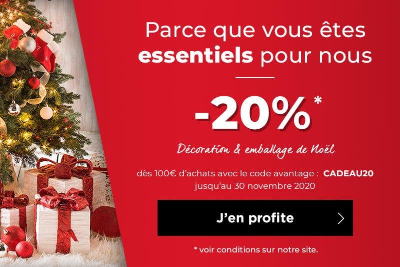-20% sur la déco et l\'emballage de Noël dès 100€ d\'achats