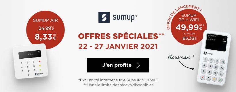 Offres spéciales sur les terminaux de paiement SUMUP du 22 au 27 janvier 2021