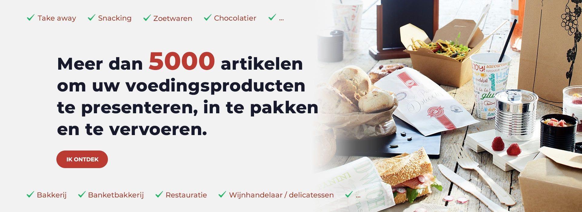 Meer dan 5000 artikelen om uw voedingsproducten te presenteren, in te pakken en te vervoeren