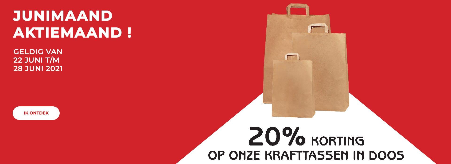 Junimaand actie maand ! 20% korting op onze krafttassen in dozen