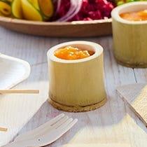 Verrines, coupelles et cuillères bambou / bois