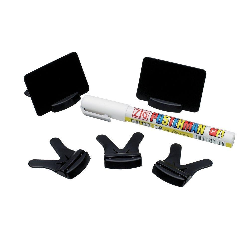 Etiquettes noires 6x4cm + socles par 25 + marqueur (photo)