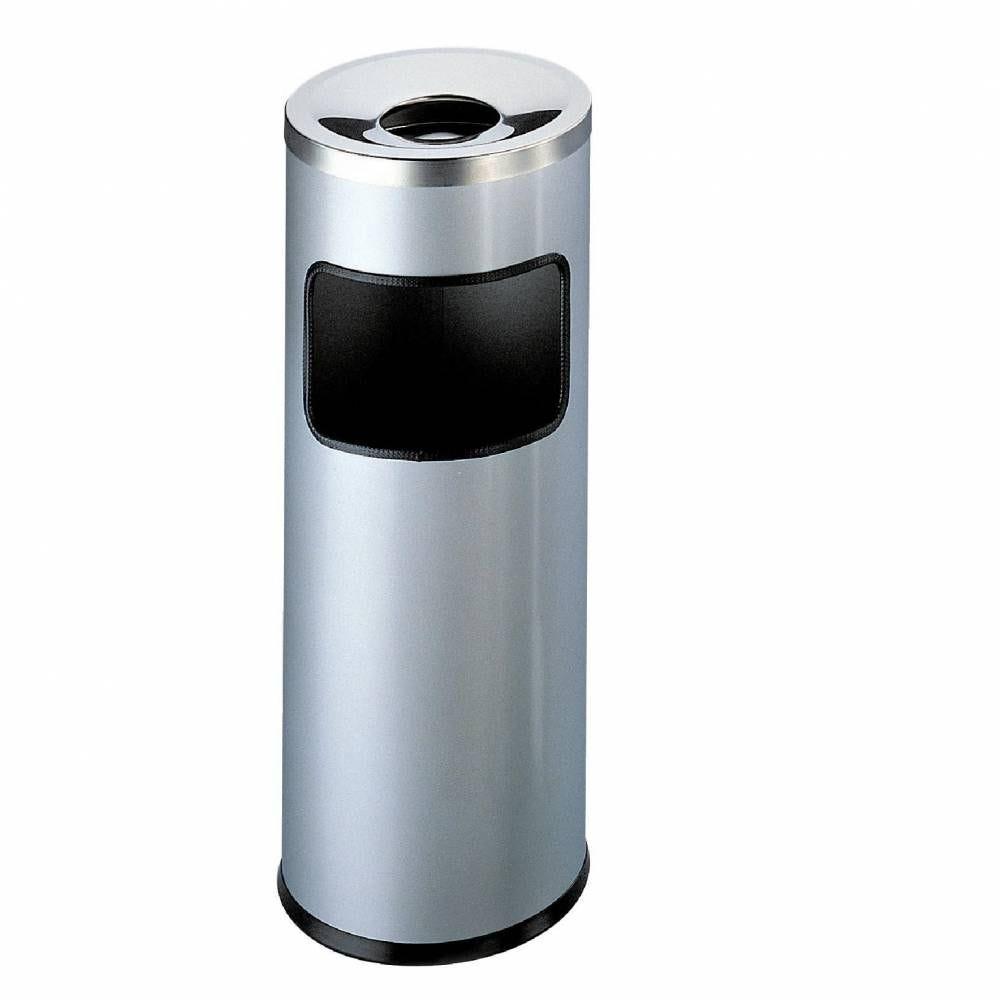 Cendrier poubelle rond avec couvercle étouffoir - 17l (photo)