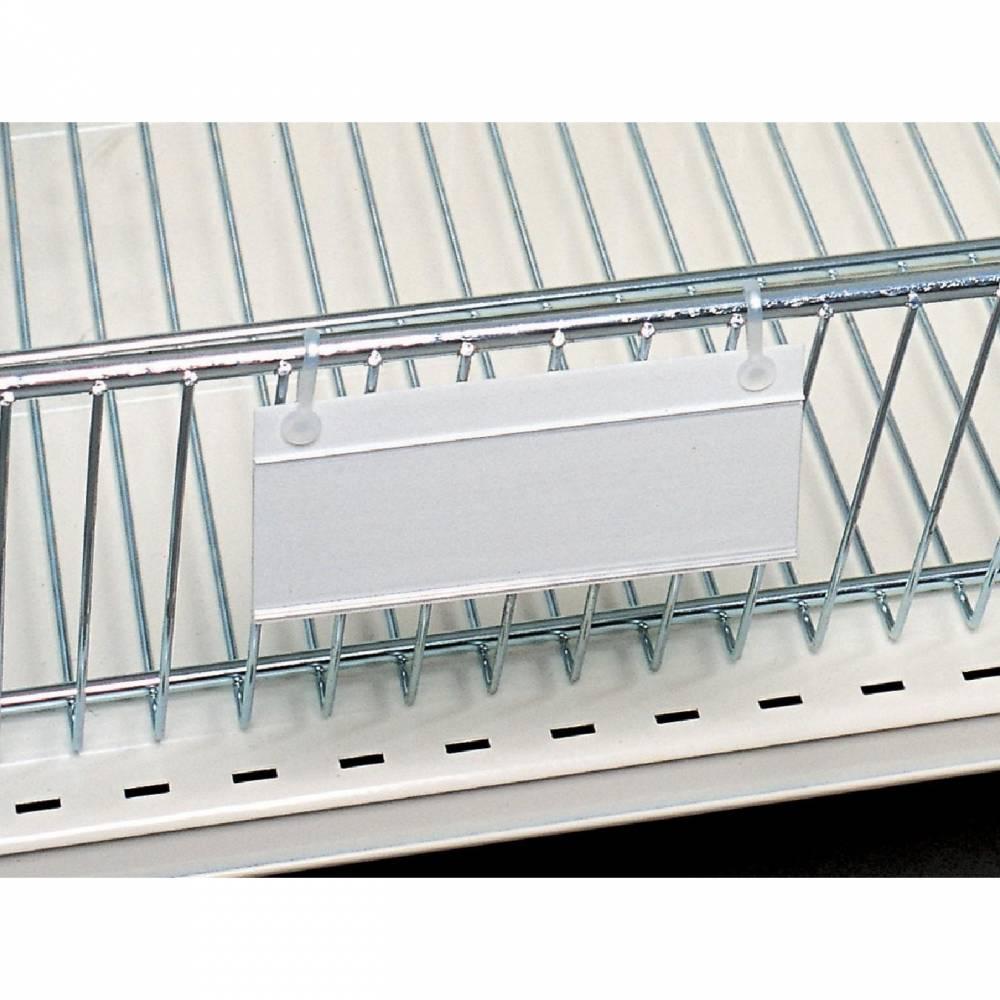 Porte étiquette panier fil blanc 120 x 40 mm 2 oeuillets (photo)