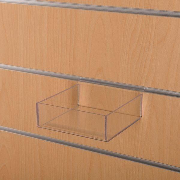 Bac 1 compartiment L.15 x P.15 x H.5 cm pour panneau rainuré (photo)