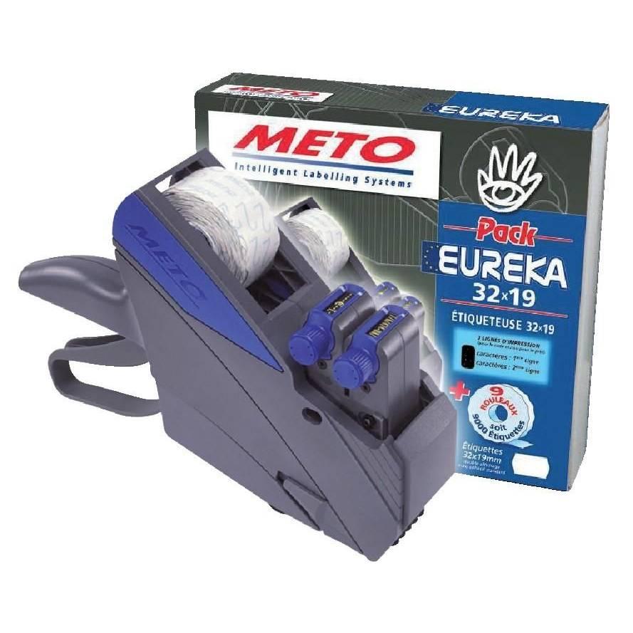 Etiqueteuse pack Eureka Meto - 2 lignes 32 x 19 mm + 9000 étiquettes  blanches (photo)