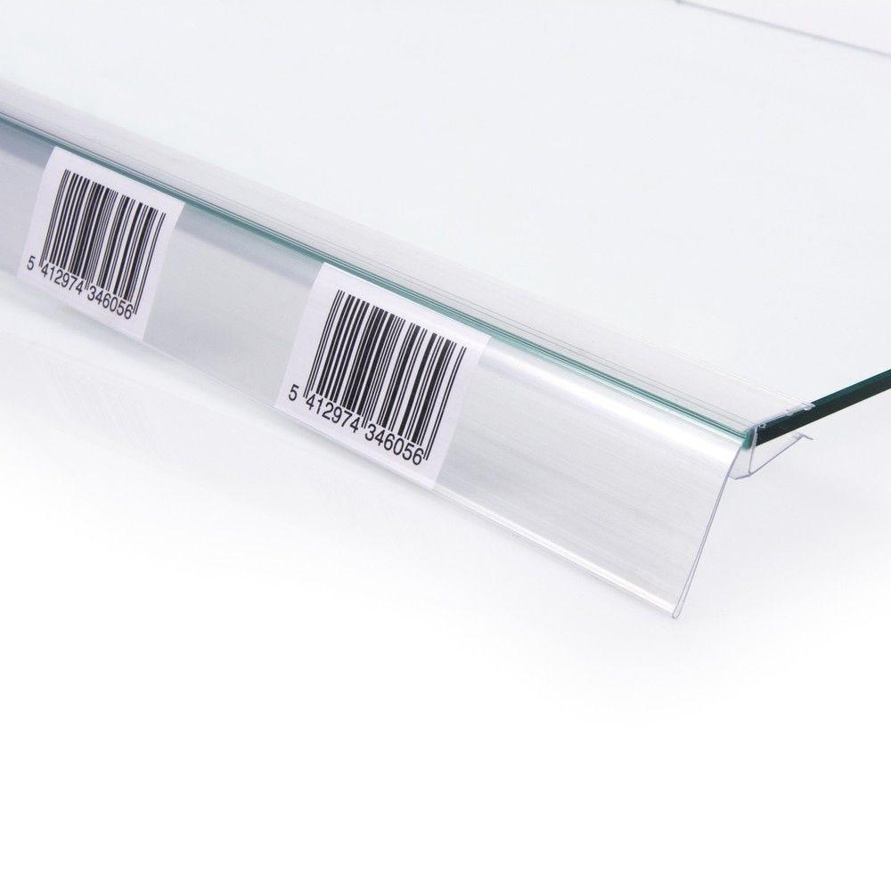 Porte étiquette transparent pour tablette verre 120 x 40 mm (photo)