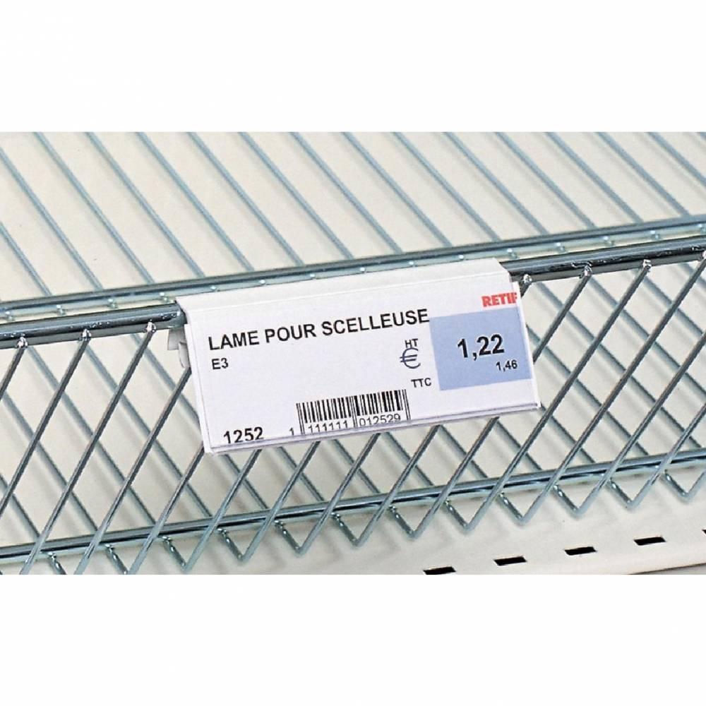 Porte étiquette panier fil blanc 100 x 39 mm (photo)