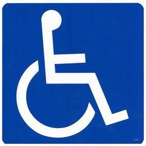 Pictogramme adhésif - diamètre 200 mm - accès handicapé (photo)