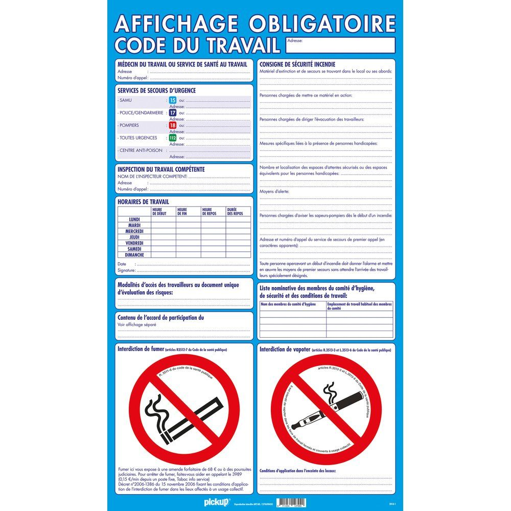 Panneau 'Affichage Obligatoire' 40 x 69 cm code du travail (photo)