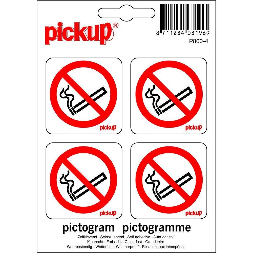 Pictogramme autocollant Interdition de fumer 4,7 x 4.7cm par 4 (photo)
