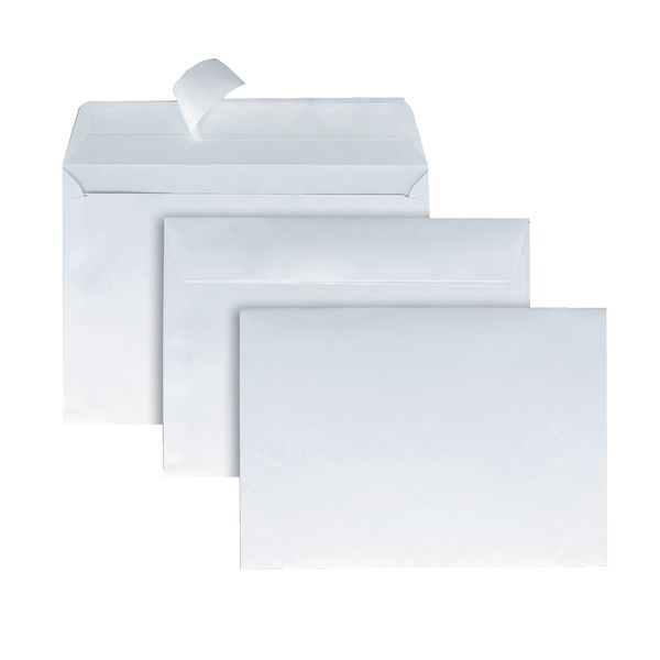 Enveloppe adhésive blanche 162 x 114 mm - par 500 (photo)
