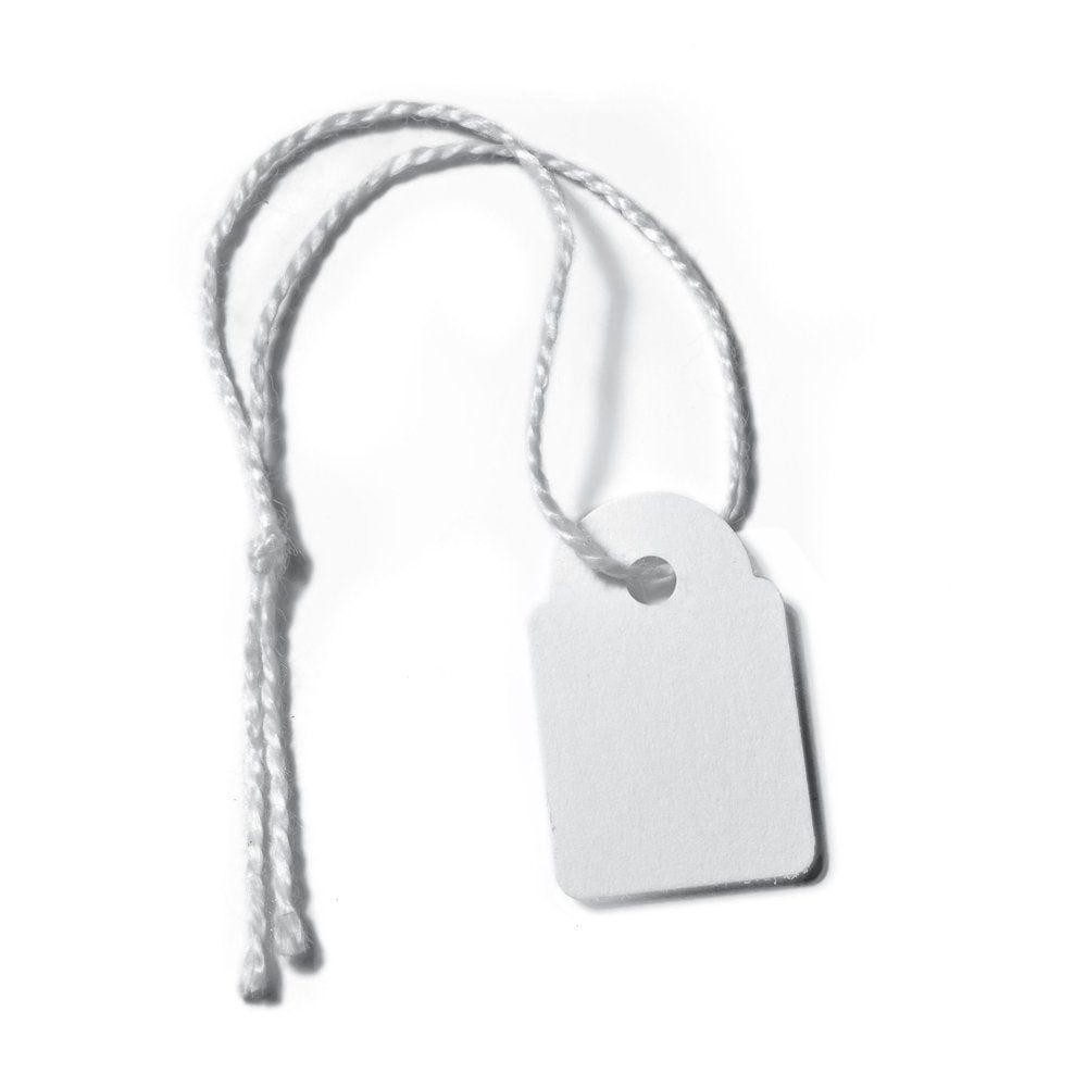 Etiquettes bijou à fil blanc 15x24mm x 1000 (photo)