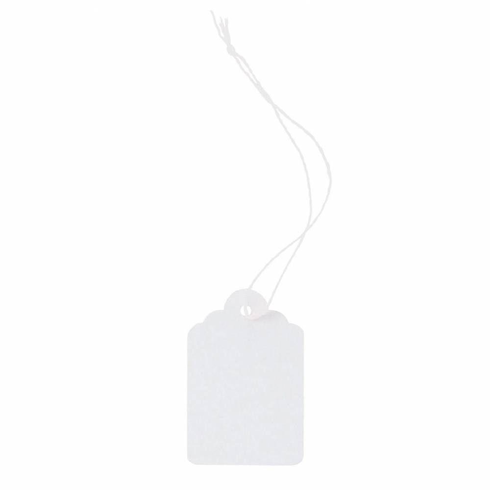 Etiquettes bijou à fil blanc 25x39mm - x 1000 (photo)