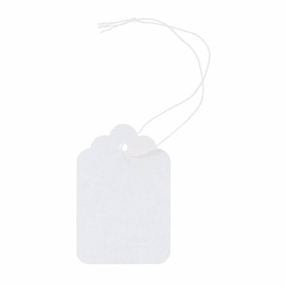 Etiquettes bijoux à fil blanc 36x53mm x 1000 (photo)