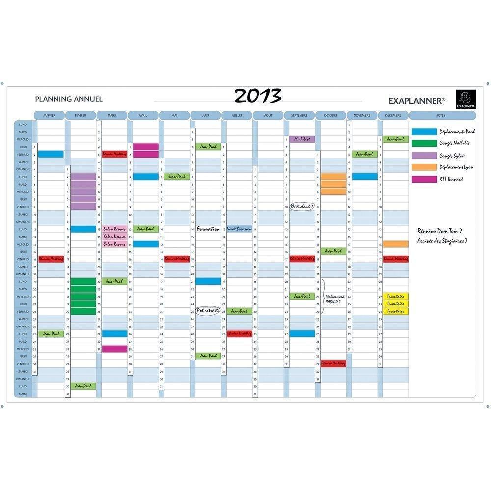 Planning magnétique annuel avec accessoires et kit de fixation (photo)