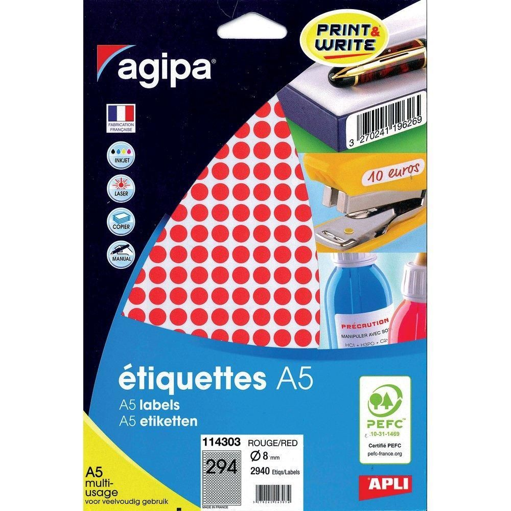 2940 Etiquettes rouge diamètre 8 MM PEFC (photo)