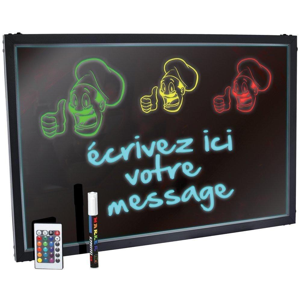 Ardoise lumineuse noir avec LED 80x60cm (photo)