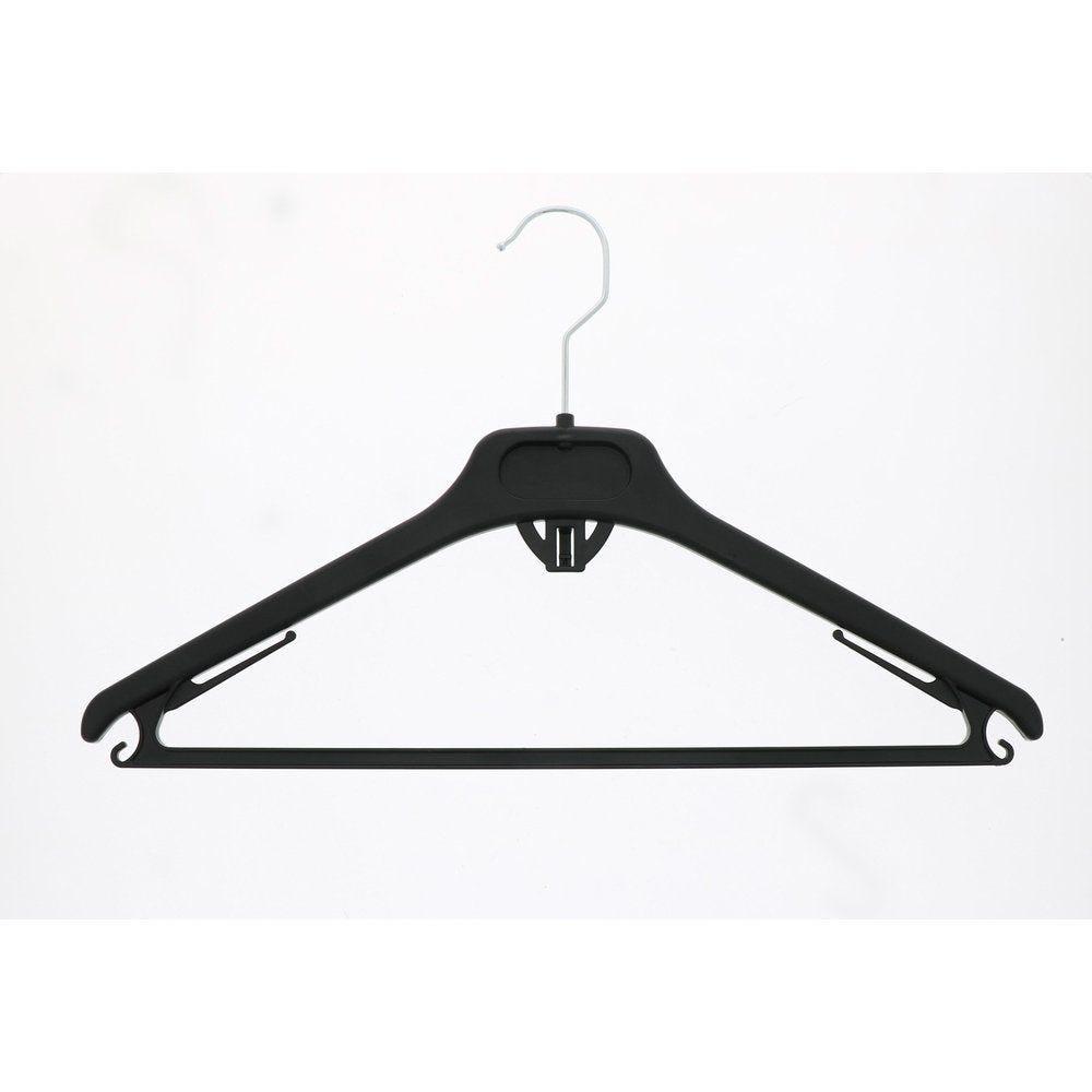 Cintre plastique noir avec barre et crochet L40cm - par 100 (photo)