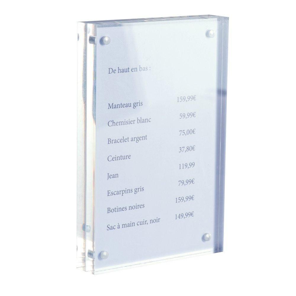 Cadre transparent magnétique en acrylique L10 x P2 x H15cm