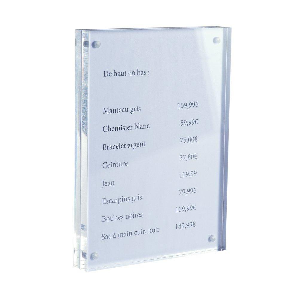 Cadre transparent magnétique en acrylique L13 x P2 x H18cm (photo)