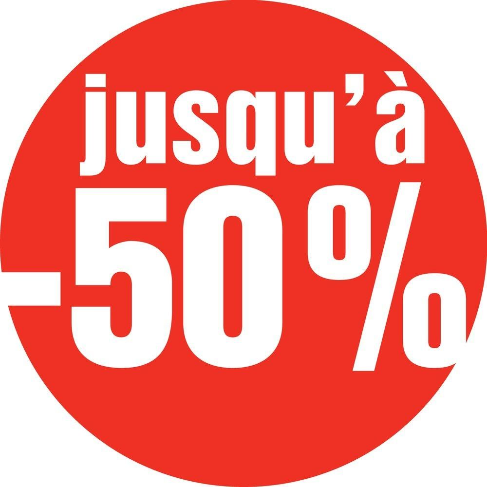 Affiche jusqu'à - 50 % ronde diam 60 cm rouge (photo)