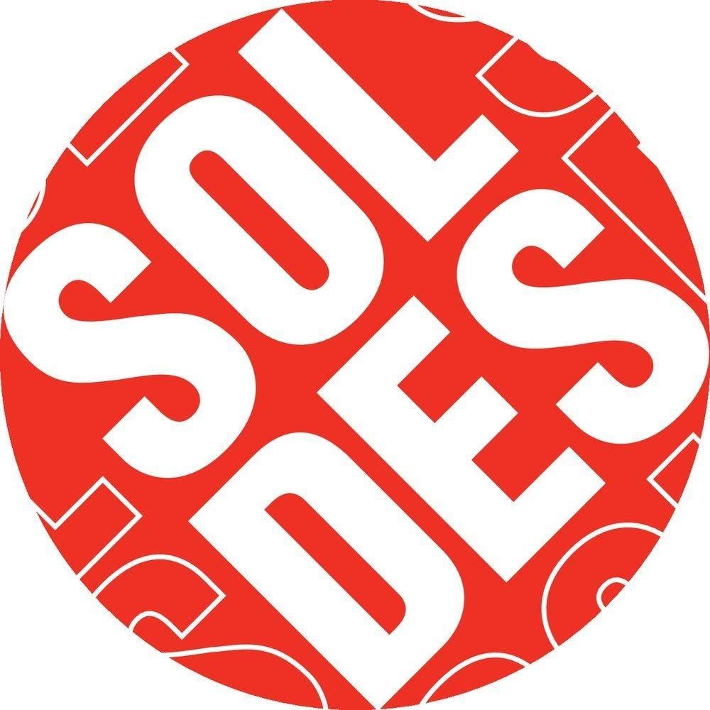 Carton  soldes  rond diam 48 cm  recto/verso rouge (photo)
