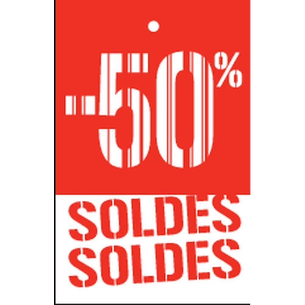 Etiquette à trou -50% Soldes Gencod rouge 55x85mm par 250 (photo)
