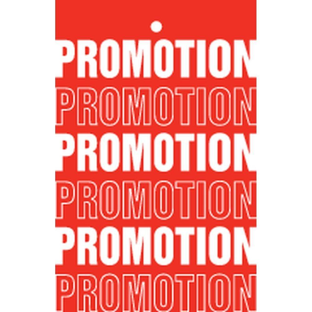 Etiquette à trou promotions tradition rouge 55x85mm par 250 (photo)
