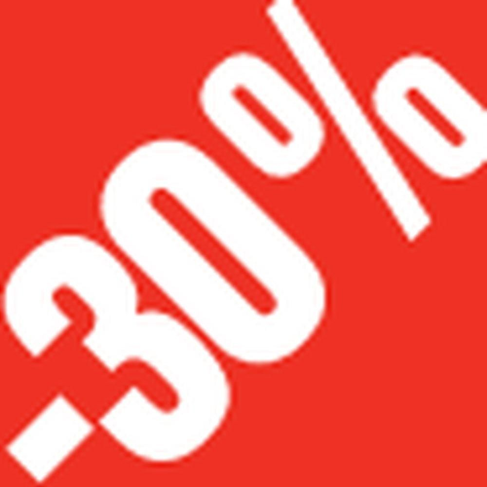 Sticker remise -30% 3.3x3.3cm rouge /blanc x500 (photo)