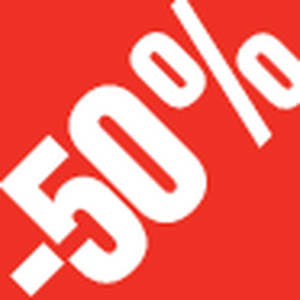 Sticker remise -50% 3.3x3.3cm rouge /blanc x500 (photo)