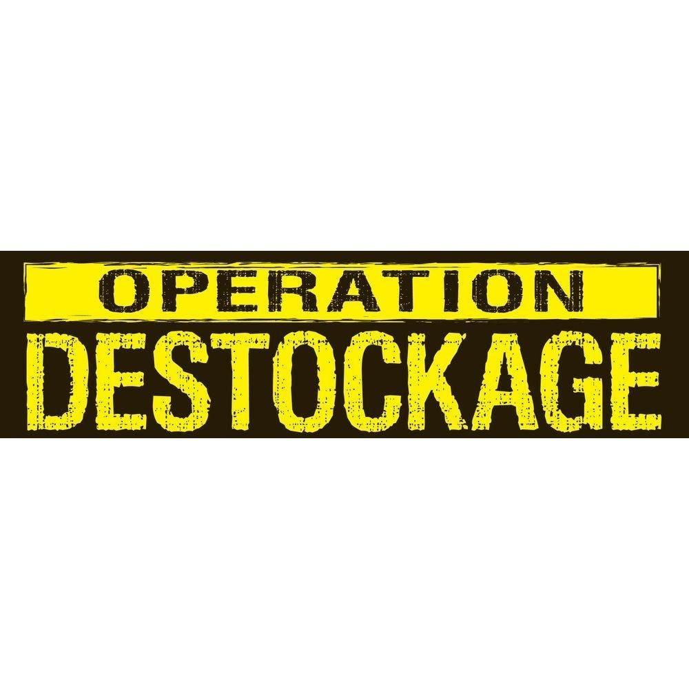 Affiche opération déstockage 115x 30 cm horizontale noir/jaune (photo)