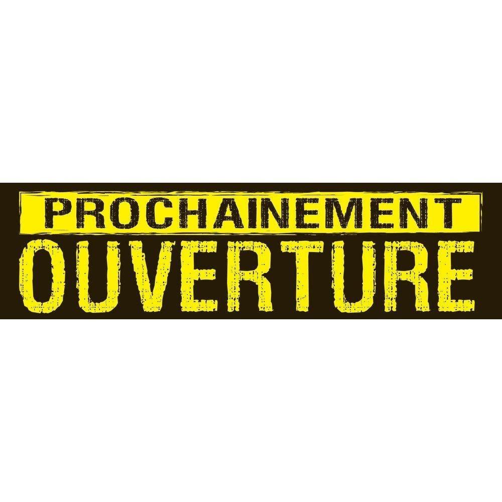 Affiche prochainement ouverture 115x 30 cm horizontale noir/jaune (photo)