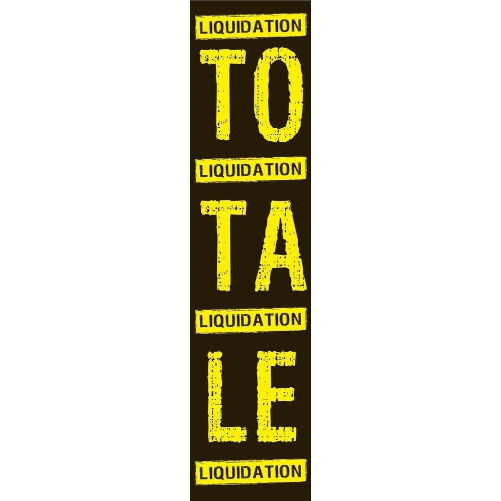 Affiche liquidation totale 168x40 cm verticale noir/jaune LIQUIDATION PAPIER (photo)