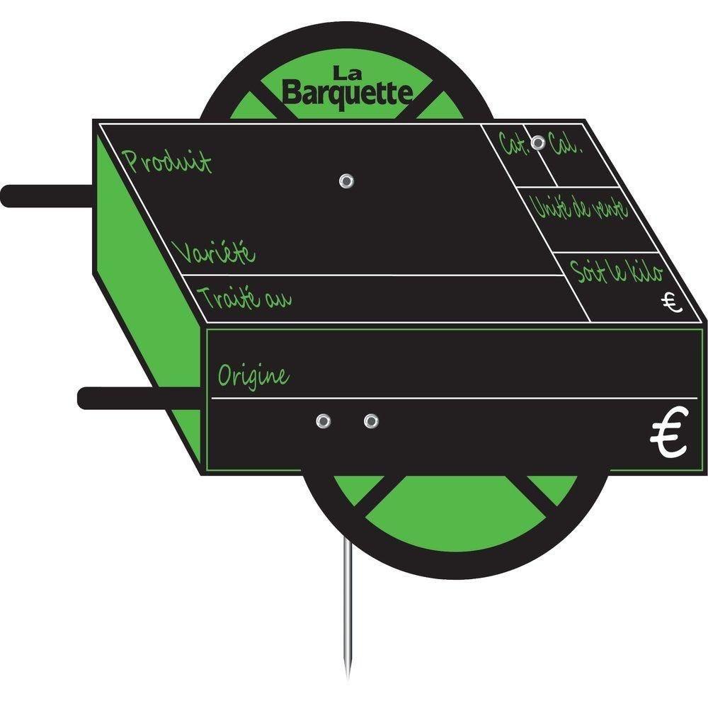 Etiquettes Charrette vocc à pique, avec disque 15x10cm - sachet de 10 (photo)