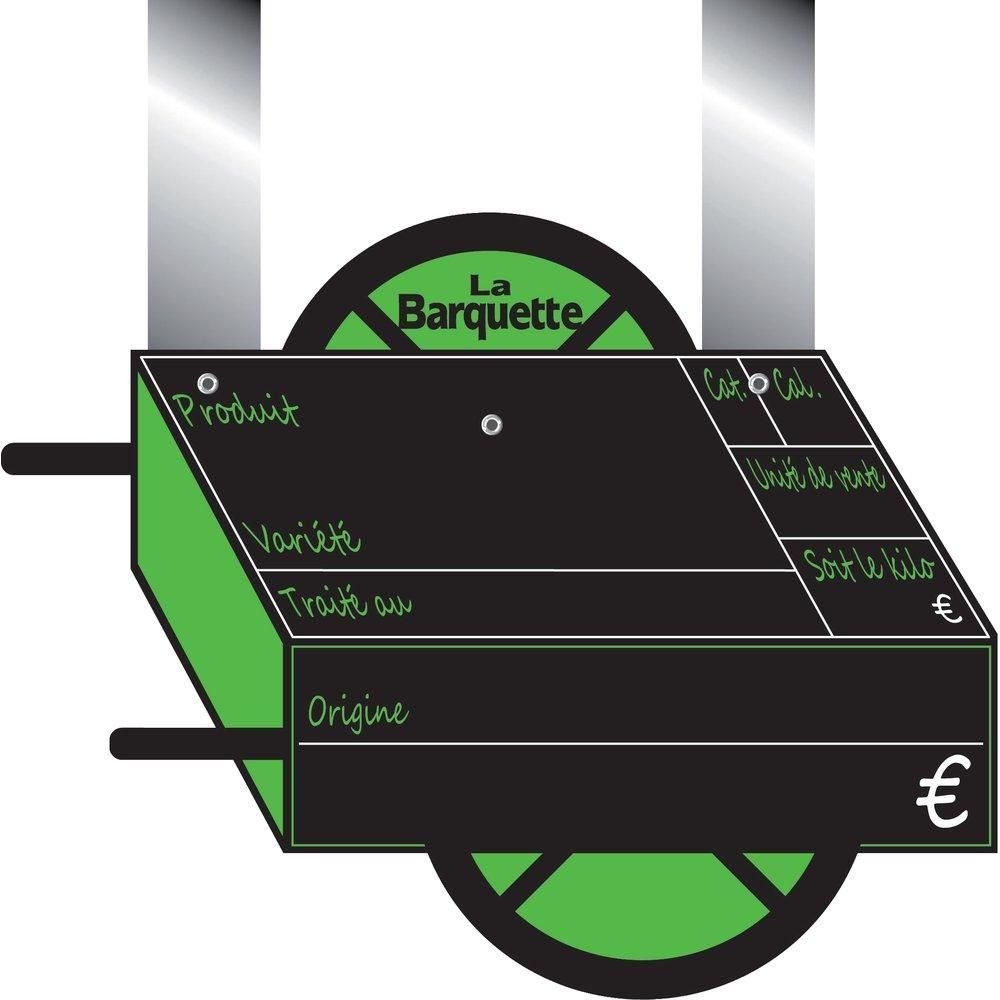 Etiquettes Charrette vocc à pattes, avec disque 15x10cm - sachet de 10 (photo)