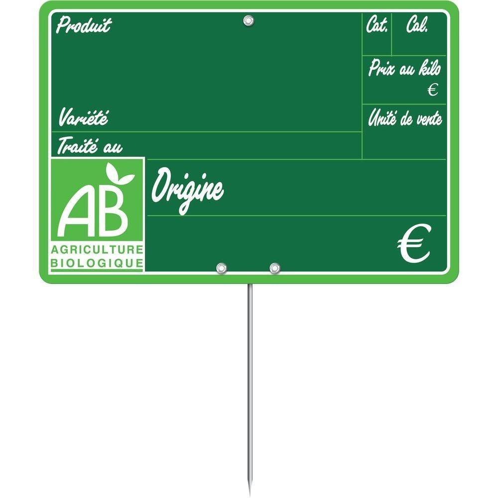 Etiquettes Bio primeur vocc à pique 15x10cm - sachet de 10 (photo)