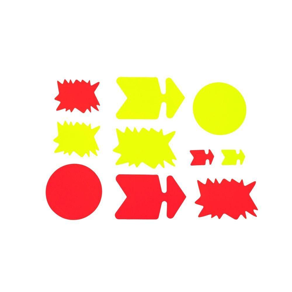 Cartons fluo ass.x50 j/o (2 pqts x10 flèches+2 pqts x10éclatés+10disques Ø19cm (photo)