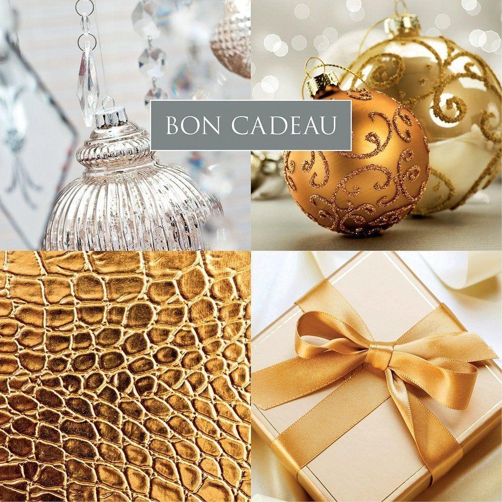 Bon cadeau décors de Noël or et blanc par 12 (photo)