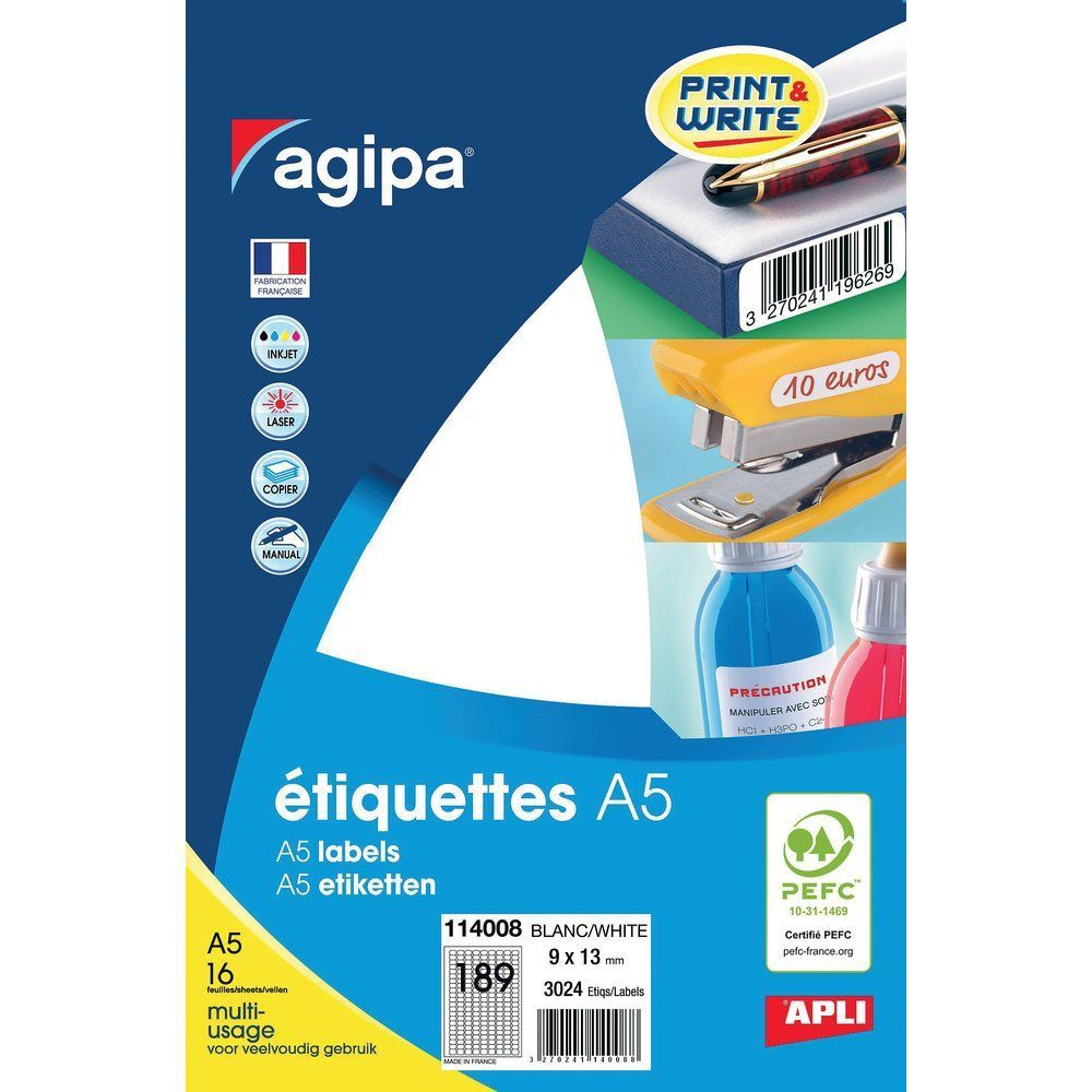 Etiquettes multi-usage blanches 9x13mm par 3024 (photo)