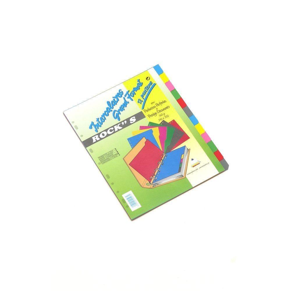 Intercalaires 12 positions aux couleurs assorties A4 400g (photo)