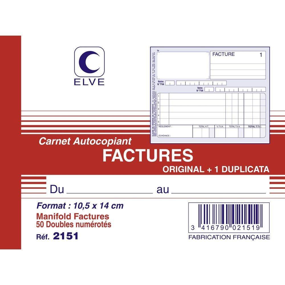 Manifold factures autocopiant format A6 50 dupli par lot de 3 (photo)