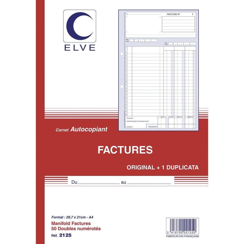 Manifold factures autocopiant format A4 50 dupli (photo)