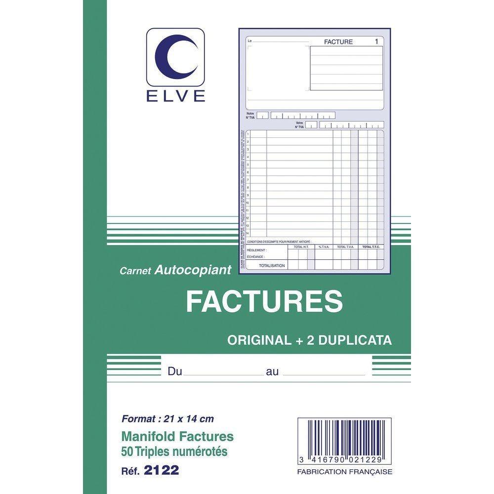 Manifold factures autocopiant format  A5 50 tripli par 2 (photo)
